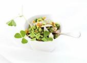 Saubohnensalat mit Froschschenkeln und Orangenzesten
