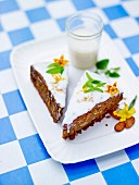 Slices of spicy pumpkin and crushed nut cake
