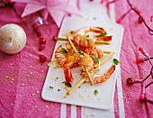 Gambas marinated with citonella, mint and mandarin orange zests