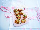 White sausage mini tartlets