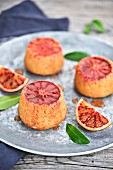 Small blood orange cakes