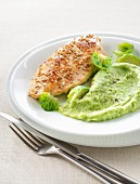 Chicken breast with sesame seeds, pureed Brussels sprouts