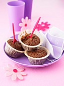 Chocolate cupcakes with Nutella center