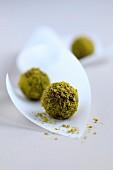 Green tea chocolate truffles