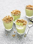 Avocado-salmon panna cotta with crumble topping
