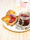 French toast with redcurrant jam