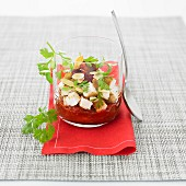 Pan-fried diced feta, almond, sun-dried tomato and fresh tomato coulis Verrine