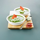 Watercress soup with Brousse cheese and chives, bresaola crisps