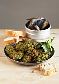 Mussels stuffed with parsley, garlic and breadcrumbs