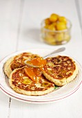 Pancakes with mirabelle plums and jam
