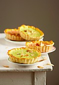 Pink and green almond tartlets