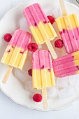 Raspberry and mango ice cream bars