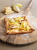 Chicory and Maroilles cheese square pizza