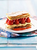 Strawberry Mille-feuille with coulis