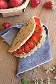 Mascarpone, green tea and strawberry Piadina galette sandwich