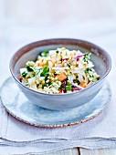 Tofu, Chinese cabbage, papaya, peanut and coriander salad