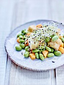 Broad bean, fried tofu, mango and sprout salad