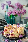 Rhubarb yeast cake with coconut crumble