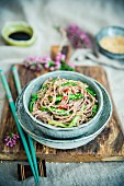 Soba noodles with ribboned green asparagus and sesame