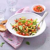 Fresh cucumber, tomato and onion salad