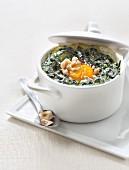 Spinach, egg and hazelnut mini casserole