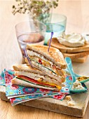 Philadelphia cream cheese, curry, chicken and grilled vegetable club sandwich