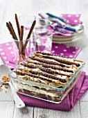 Almond-flavored and Mikado biscuit tiramisu