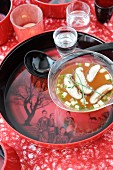 Miso soup with mushrooms and shiitakes