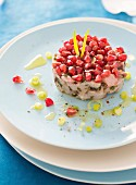Bass and seaweed tartare with pomegranate seeds