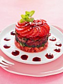 Summer fruit tartare with mint and coulis