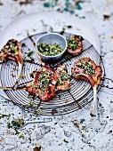 Grilled lamb chops, salt and herbs, spicies and lemon zests