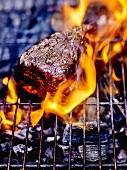 Cooking beef fillet on the barbecue