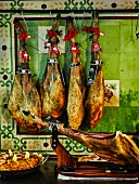 Spanish ham's hanging and Paëlla