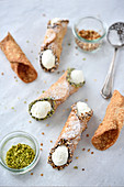 Sicilian crushed pistachio and hazelnut Cannoli