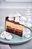 Slice of chocolate and meringue mushroom Christmas cake