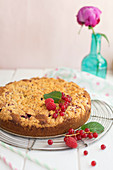Cake with raspberries and redcurrants
