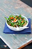 Rocket lettuce, clementine and foie gras salad