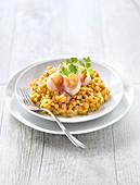 Orange lentil dahl with scallops