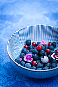 Bowl of blueberries and redcurrants