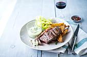 Grilled steak, potatoes, tarragon mayonnaise