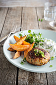 Ground chicken burger, roasted sweet potatoes