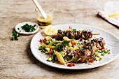 Lamb skewers, rice and crisp vegetable salad