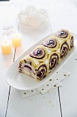 Blueberry Christmas log cake