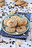 Coffee, hazelnut and white chocolate cookies