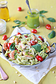 Tagliatelles with gambas, tomatoes and pesto