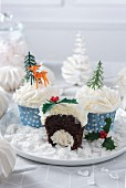 Choco-coconut Christmas cupcake