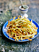 Pommes allumettes with Fleur de sel sea salt and matcha tea