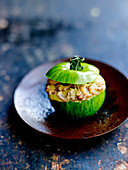 Grüne Tomate mit Krabben und Curry-Mayonnaise
