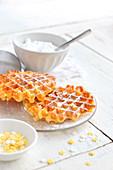 Waffles With Icing Sugar And Star Sugars