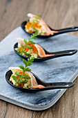 Gambas With Celeriac Remoulade And Salmon Roe Appetizers